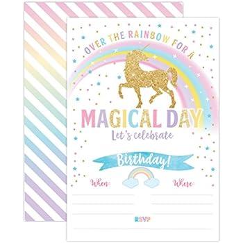 Amazon unicorn birthday invitation unicorn party invite 20 unicorn birthday invitation unicorn party invite 20 fill in style with envelopes stopboris Image collections