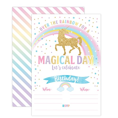 Unicorn Birthday Invitation, Unicorn Party Invite 20 Fill In Style with Envelopes by Your Main Event Prints