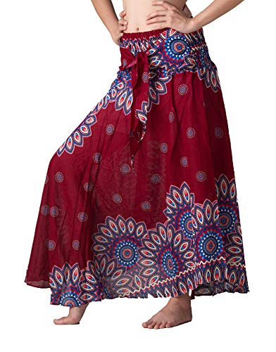 Bangkokpants Women's Long Hippie Bohemian Skirt Gypsy Dress Boho Clothes Flowers One Size Fits Asymmetric Hem Design (Red Flowerbloom, One Size)