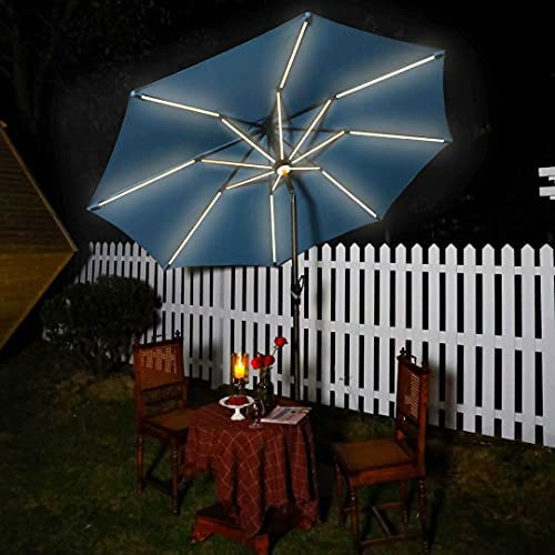 VINEY Deluxe 10 ft. Solar Powered LED Market Umbrella Aluminum Outdoor Patio Table Umbrellas