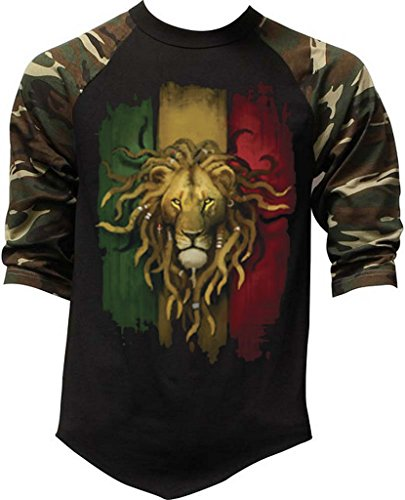 Men's Grunge Rasta Lion Flag Tee Black/Camo Raglan Baseball T-Shirt X-Large Black/Camo