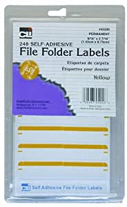 Charles Leonard Inc. File Folder Labels, 0.56 x 3.43 Inches, Yellow, 248/box (45240)