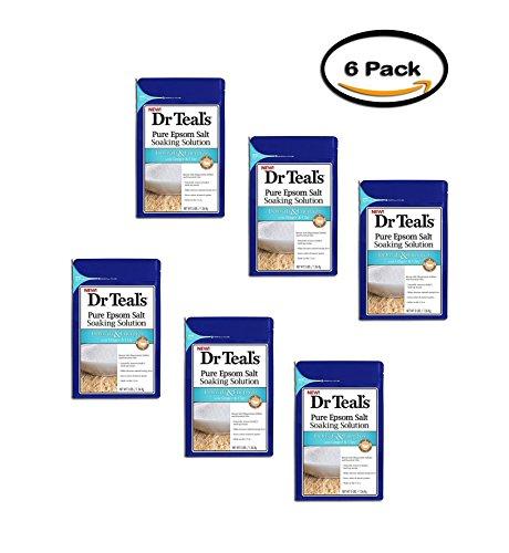 PACK OF 6 - Dr.Teal's Detoxify & Energize Pure Epsom Salt Soaking Solution, 3 lb (Dr Teals Epsom Salt Ginger And Clay)