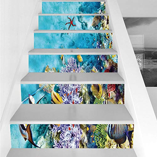 Stair Stickers Wall Stickers,6 PCS Self-Adhesive,Ocean,Corals Fishes Jellyfish