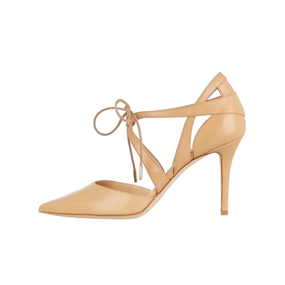 LYY.YY Frauen Spitze Kreuz Spitze Einzelne Einzelne Einzelne Schuhe Wasserdichte Plattform Mode Temperament Stilett Pendeln Büro Schuhe Anziehen (Absatzhöhe  10Cm) 1c17d6