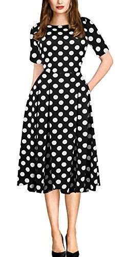 Sibylla Women's Retro Polka Dots Half Sleeve Dress Swing Slim Fit with - Dots Polka Retro