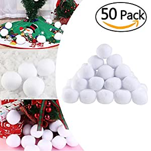 Tinksky Artificial Soft Throwable Snow Fight Snowballs Christmas Tree Decorations Ornaments Xmas Home Party Decor Christmas Gift DIY 50pcs 7cm