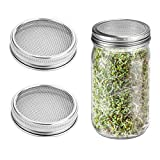Sprouting Lids,Bagvhandbagro Set of 2 Stainless Steel Sprouting Jar Lid Kit for Wide Mouth Mason, Ball, Canning Jars for Making Organic Sprout Seeds in Your House/Kitchen