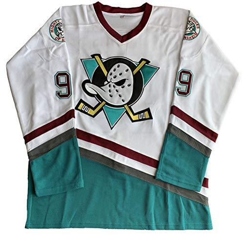 664751dee Charlie Conway #96 Mighty Ducks Adam Banks #99 Movie Ice Hockey Jersey  Green White (99 White, Medium)