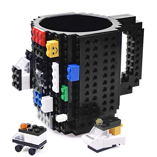 KYONNE Build-on Brick Mug, Lego Style Building Blocks Coffee Cup, Unique Christmas Gift Idea (Black) -