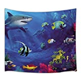 HNMQ Cartoon Ocean Decor Tapestry, Underwater Sea Animals World with Corals Dolphin Turtle and Tropical Fishes, Wall Art Hanging for Bedroom Living Room Dorm, 71 X 60 Inches Wall Blankets Home Decor