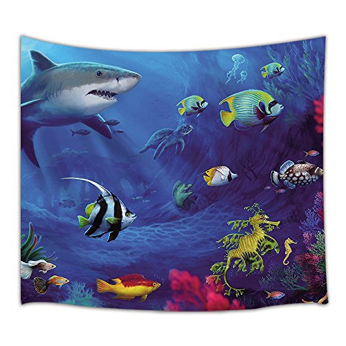 HNMQ Cartoon Ocean Decor Tapestry, Underwater Sea Animals World with Corals Dolphin Turtle and Tropical Fishes, Wall Art Hanging for Bedroom Living Room Dorm, 71 X 60 Inches Wall Blankets Home Decor by HNMQ