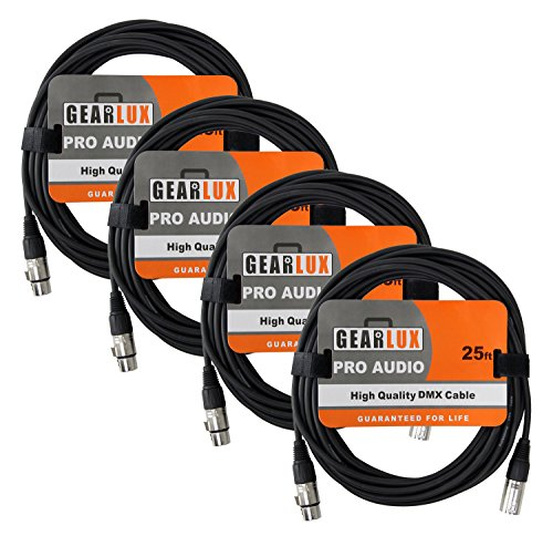 - Gearlux 25ft DMX Cable, 3-Pin XLR Male to Female DMX Cable, Black - 4 Pack