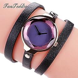 Women's Quartz Watch,Hosamtel Girls Fine Leather Strap Winding Analog Bracelet Watch A47 (D)