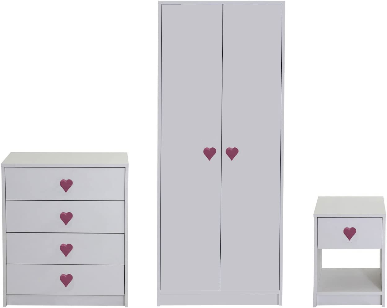 Devoted2Home Hearts Childrens Bedroom Furniture 3 Piece Set-White-Includes  Wardrobe, Chest of Drawers and Bedside Cabinet, Wood, 49.8x66.8x139 cm