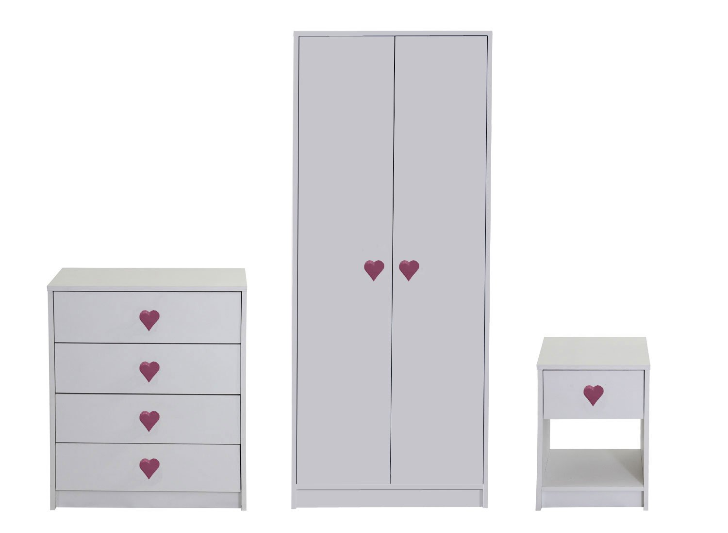 Devoted2Home Hearts Children's Bedroom Furniture Set with Wardrobe/Chest of Drawers/Bedside Cabinet, Wood, White, 49.8 x 66.8 x 139 cm, 3-Piece AA510902HEA