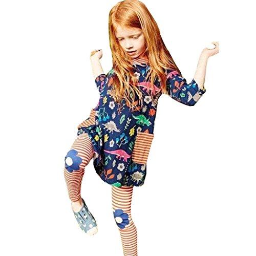 Meyerlbama Baby Girls Kids Clothes Long Sleeve Flower Dinosaurs Print T-Shirt Tunic Dress (Navy, 2T)