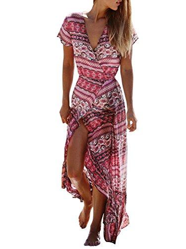 Haute Fente Robe De Rouge Wrap Longue Robe De Plage D'impression Ethnique Des Femmes Simplee Vêtements