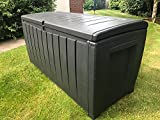 Novel Keter 340 ltr Garden Storage Box Constructed With Durable All-Weather Polypropylene Plastic Resin in Anthracite