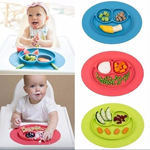 JD Million shop 1Pcs Mini Size Smile Baby Rice Plate Food Grade Silicone Placemats Kids Suction to Dining Table Kitchen Dinnerware (Deere John Kids Water Bottle)