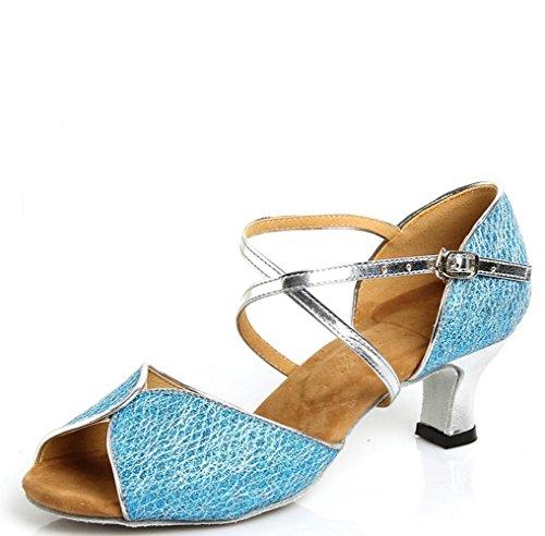 Zapatos De Baile Latino Con Adultos En Los Zapatos De Cuero Lago Azul 7.5cm