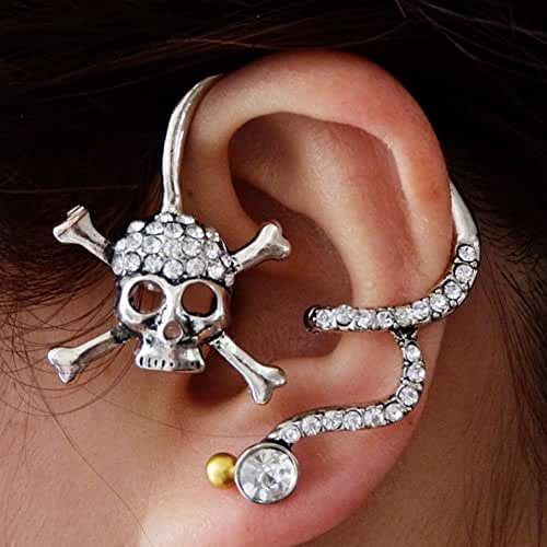 MANDI HOME Fashion Cool Skull with Diamond Back Ear Cuff Stud Earrings Silver