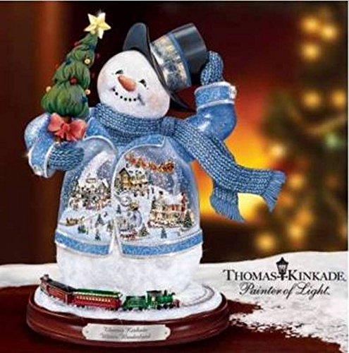 Retired Thomas Kinkade Illuminated, Animated *Winter Wonderland* Snowman with Train Circling the Base - Thomas Kinkade Trains