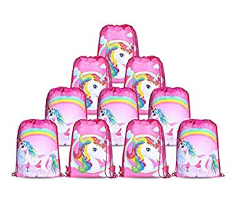 10pcs/Set Unicorn Bags for Unicorn Party Supplies Unicorn Drawstring Shoulder Backpack Bag Bulk for Girls Kids Children for Birthday Candy Baby Shower Unicorn Party Favors Gift