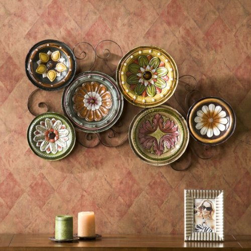 6-piece Italian Plates Wall Art Sculpture Set, Hand Painted and Glazed to Perfection