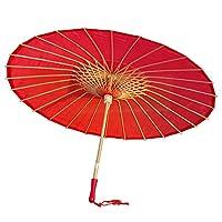 AEAOA Plain Bamboo Cloth Parasol Umbrella Great for Wedding Party Favor (Red)