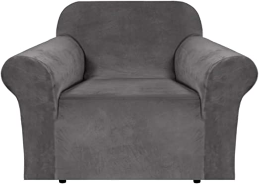 Amazon Com H Versailtex Stretch Velvet Armchair Cover Couch Covers 1 Cushion Chair Slipcover For Living Room Furniture Cover Crafted From Thick Comfy Rich Velour Chair 32 48 Grey Kitchen Dining
