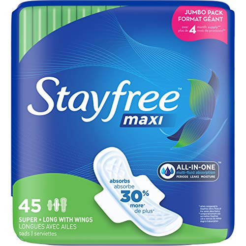 Stayfree Maxi Super Long Pads with Wings For Women, Reliable Protection and Absorbency of Feminine Periods, 45 count
