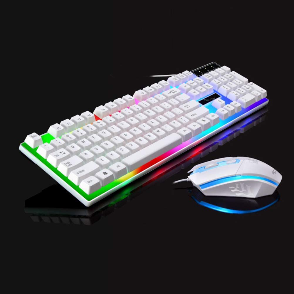 G21 USB Wired 104 Buttons Comfortable Feel Keyboard 1000DPI LED Mouse Set for Gaming//Office//Home Use
