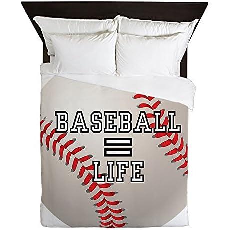 Queen Duvet Cover Baseball Equals Life