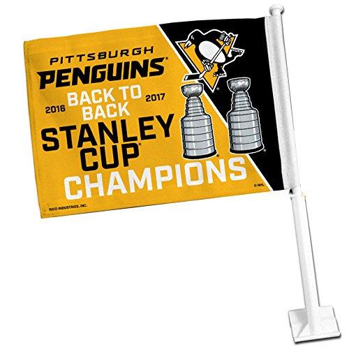 Pittsburgh Penguins Car Flag - Rico Industries Pittsburgh Penguins 2017 NHL Stanley Cup Champions Car and Auto Flag