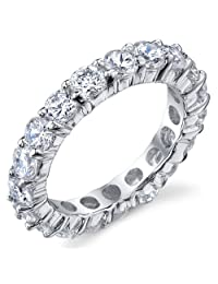 Metal Masters Co.® 3.50MM Sterling Silver 925 Eternity Ring Engagement Wedding Band Ring with Cubic Zirconia CZ