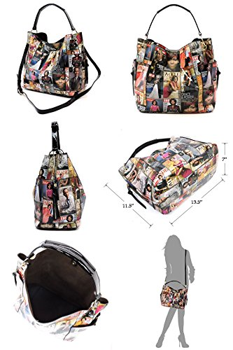 Hobo Q Magazine Obama Glossy Shoulder in black Collage 1 Bag Handbag White 3 Cover Michelle w8qpAwBS