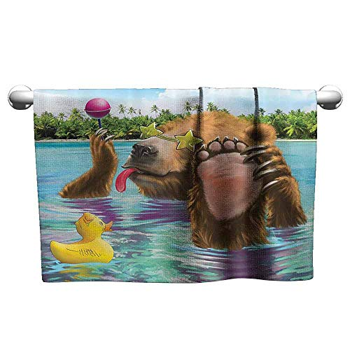DUCKIL Sports Towel Animal Decor Happy Fancy Wild Bear in The Sea by The Beach with its Sunglass Candies Print Modern Bath Sheet 27 x 14 inch Multicolor