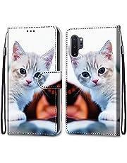 جراب محفظة ملون لهاتف Samsung Galaxy Note 10 Plus، جراب قلاب مغناطيسي من الجلد الصناعي مع فتحات للبطاقات وحزام معصم