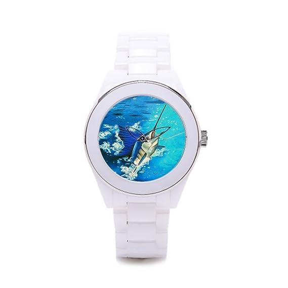 Queensland cerámica caso reloj reloj deportivo Pesca Offshore: Amazon.es: Relojes