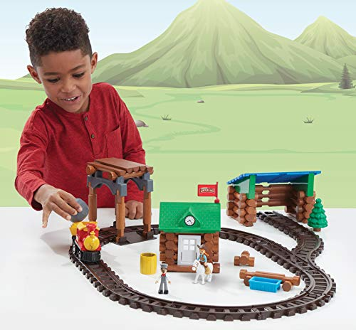 Lincoln Logs Sawmill Express Train - Real Wood Logs - Buildable Train Track - 101 Parts - Ages 3 & Up