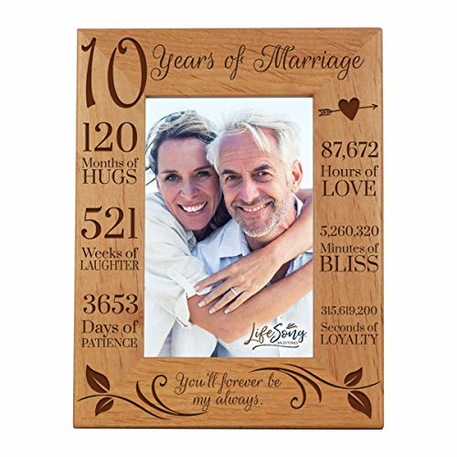 LifeSong Milestones 10th Anniversary Picture Frame 10 Year of Marriage - Ten Year Wedding Keepsake Gift for Parents Husband Wife him her - You'll Forever Be My Always (7.5x9.5) (Best Gift For My Parents Anniversary)