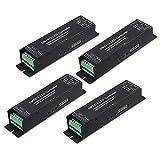TORCHSTAR 4 Pack 4 Channel DMX Digital Tube DMX512 Decoder, Effective 4 Channel Output, 12-24V LED Light Converter, 44A Constant Current, RGBW/CCT