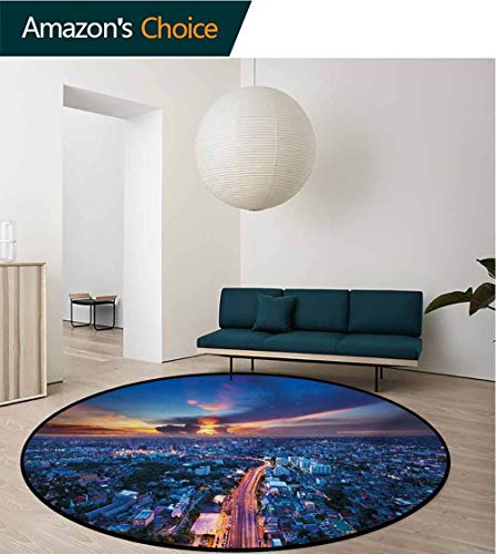- RUGSMAT Urban Machine Washable Round Bath Mat,Bangkok Skyline at Sunset Evening Thailand Cityscape Metropolis Architectural Photo Non-Slip No-Shedding Bedroom Soft Floor Mat,Diameter-24 Inch
