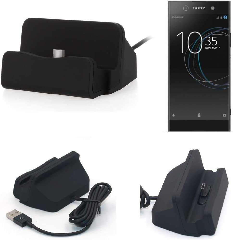 K-S-Trade pour Sony Xperia XA1 Station Charge daccueil Base De Chargeur Dock Chargement Connecteur USB Type-C Support Montage Stand Noir