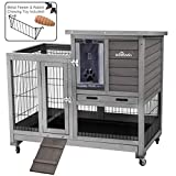 Aivituvin [Upgrade Version] Rabbit Hutch Rabbit Cage Indoor Bunny Hutch with Run Outdoor Rabbit House with Two Deeper No Leak Trays - 4 Casters Include