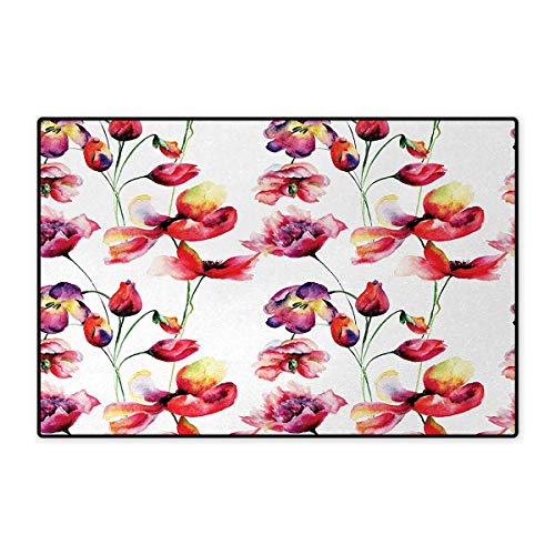 Tulip,Doormat,Pastel Colored Blooming Grungy Uneven Tulip and Poppy Flower Patterns Nature Theme,Bath Mat for Tub Bathroom Mat,Red White 32