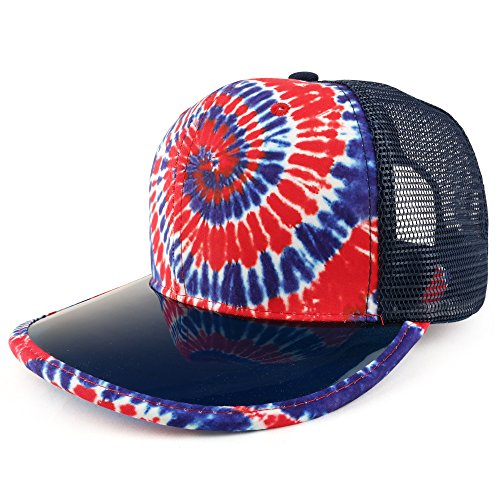 Trendy Apparel Shop Tie Dye Printed Mesh Snapback Hat With Transparent PVC Flat Bill - Red Royal (Transparent Hat Plastic)