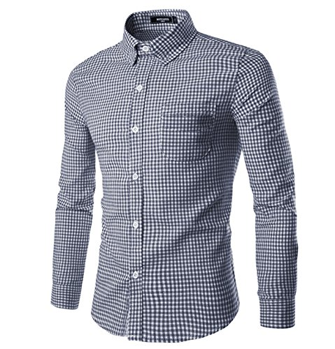 NUTEXROL Men Plaid Cotton Casual Slim Fit Long Sleeve Button Down Dress Shirts (L, Navy)