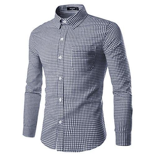 - NUTEXROL Men Plaid Cotton Casual Slim Fit Long Sleeve Button Down Dress Shirts (L, Navy)
